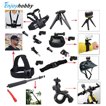 OliYin Handlebar Helmet Sports Head Chest Mount Self Monopod Handheld Accessories For Sony Action Cam HDR AS20 AS15 AS100V AS30V