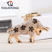 Cute The bull Pendant keychain Fashion Rhinestone Crystal Creative ladies dress handbag wallet Jewelry Llavero Chaveiro