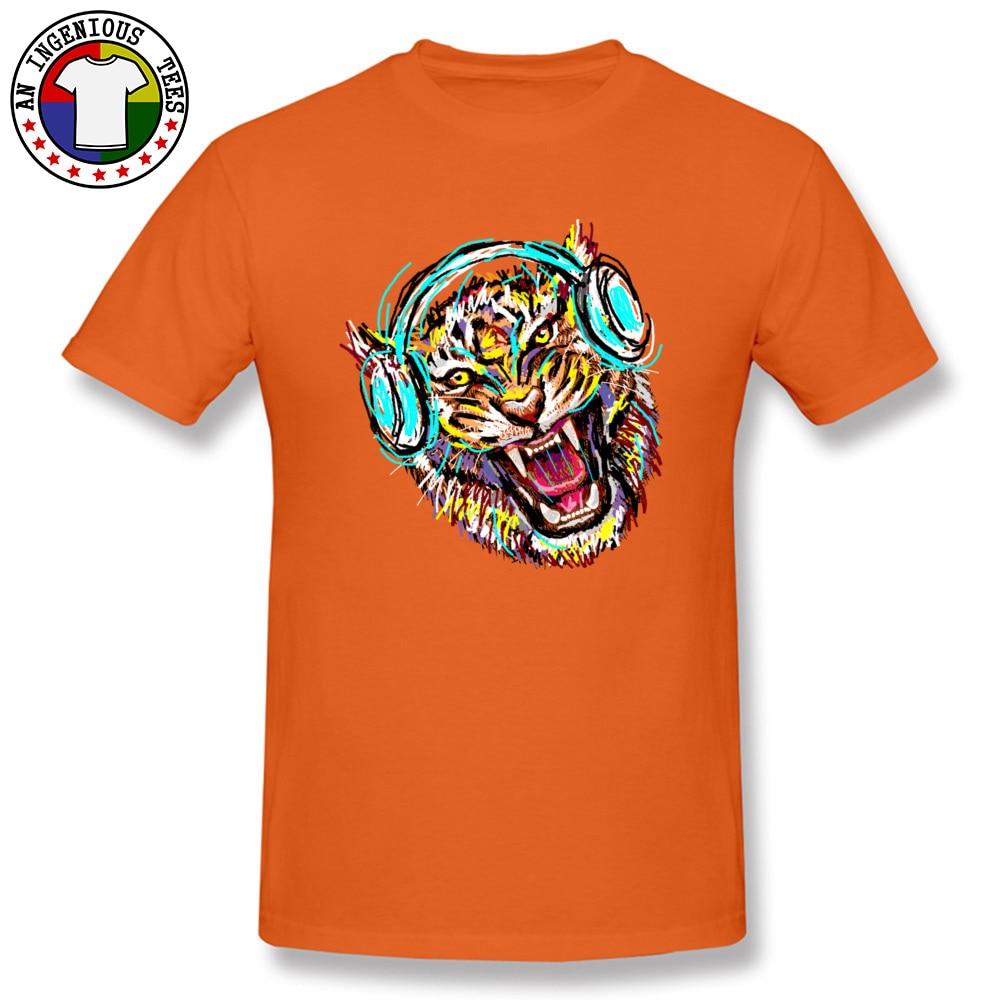 2018 Men T Shirt Cool Wild Music Printed On T-Shirt 100% Cotton Short Sleeve Print T Shirt Crew Neck Wholesale Cool Wild Music orange