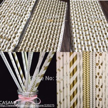 25pcs golden paper straws Party straws Environmental Gold Silver paper straws Mixed Striped Stars Chevron patterns Wholesale(China)