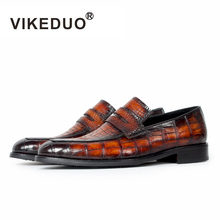 VIKEDUO Brand Handmade Crocodile Skin Polished Leather Mens Casual Design Fashion Shiny Slip-On Loafers Shoes Original Design(China)