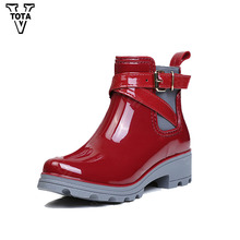 VTOTA Ankle Rain Boots Rubber Waterproof Rain Shoes Woman Moccasins Comfortable Ladies Casual Walking Outdoor Lady Botas CD03