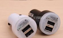 2000pcs/lot freeship 2.1A 2100mha Dual USB Car Charger 5V Dual 2 Port car Chargers for iPad iPhone 5 5S iPod iTouch HTC Samsung