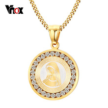 Vnox Virgin Mary Pendant Necklace Gold-color Chain Necklace Women Religious Prayer Crystal Necklace Jewelry