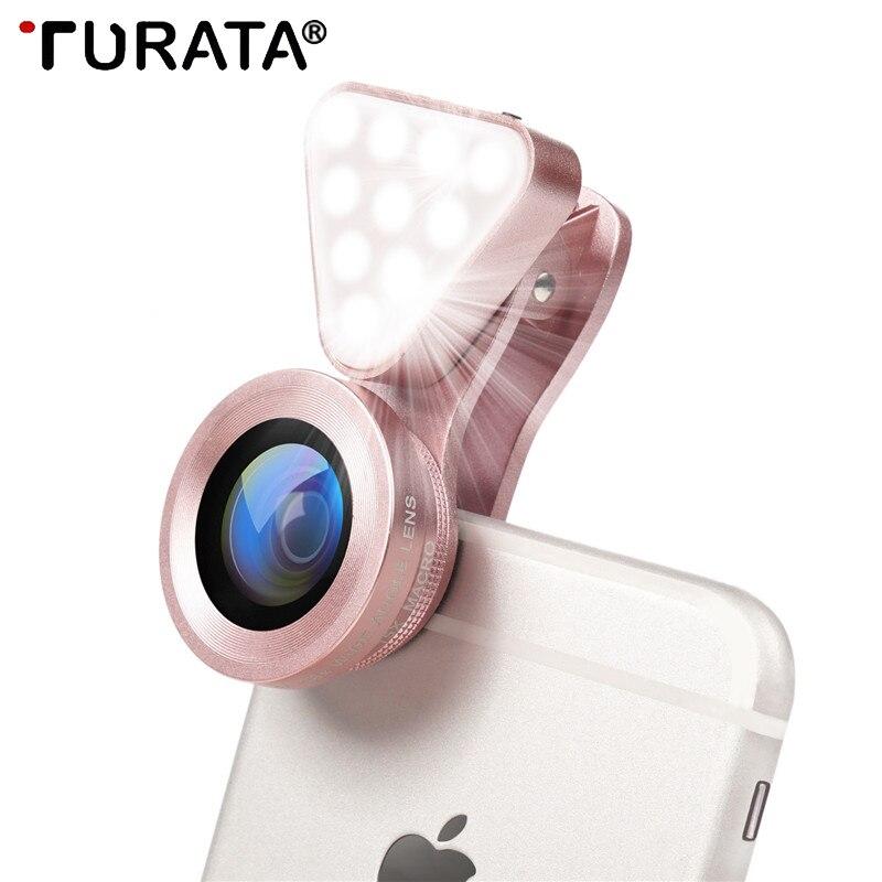 Lente de teléfono  3 en 1,  luz LED, lente de ojo de pez 0,4-0.6X gran angular + lente Macro Clip 10X