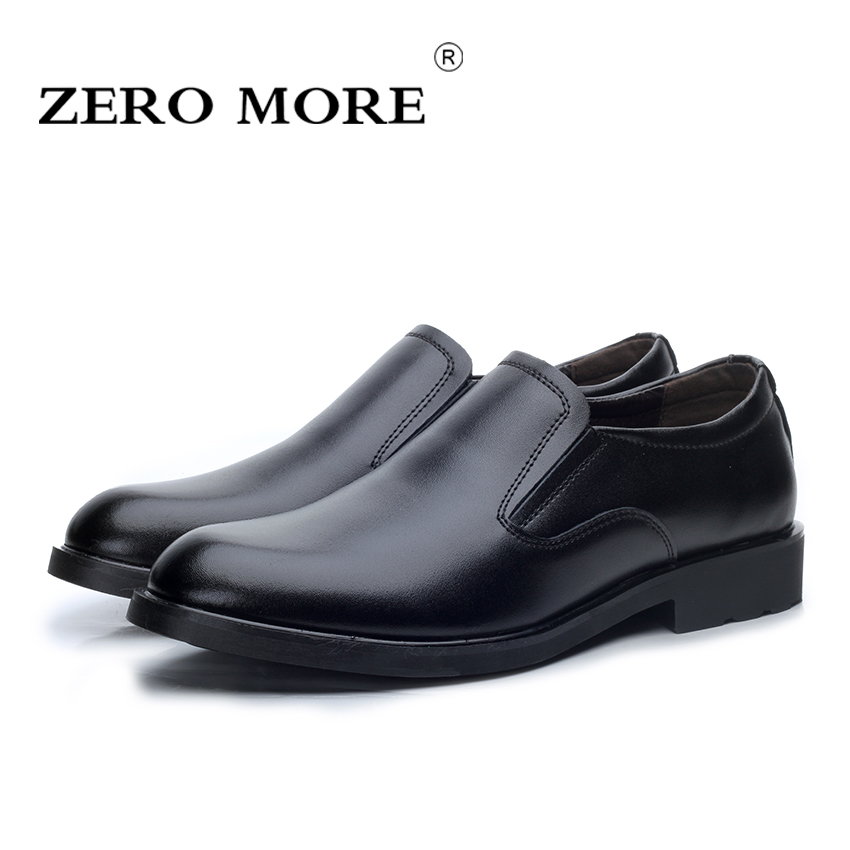 ZERO MORE Slip on Men Shoes Split Leather Leisure Fashion Pointed Toe Mens Shoes Color Black Size 38-44 <br>