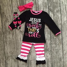 "2017 new Fall/Winter design ""Jesus is my rock"" stripes pants baby kids girls boutique clothing with matching accessories"