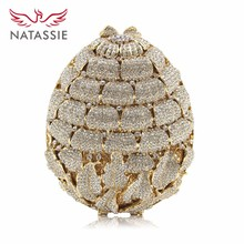 Natassie New Design Ladies Luxury Flower Crystal Evening Bags Women Wedding Clutches Purses Girls Day Clutches Party Bag(China)