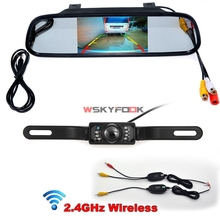 Wireless CCD 7IR LED lights night vision License Plate Rear View Camera + 4.3 Inch Car Rearview Mirror Monitor Kits