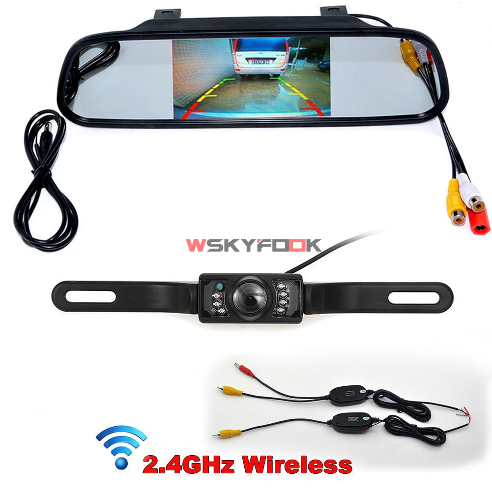 Wireless CCD 7IR LED lights night vision License Plate Rear View Camera + 4.3 Inch Car Rearview Mirror Monitor Kits(China)