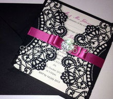 Newest design wedding favor elegant invitation card with tied ribbon and rhinestone for wedding baby baptism and party