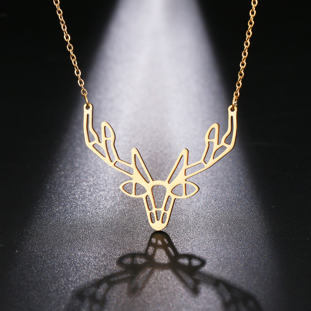 Cacana Stainless Steel Necklace Origami Deer Charm Necklace Women Boho Antler Horn Animal Christmas Jewelry Everyday Gift (6)
