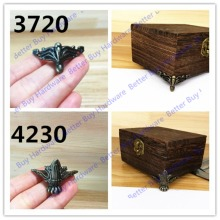 4pcs 37*20mm/42*30mm Antique Brass Vintage Bronze Jewelry Chest Gift Box Wooden Case Decorative Furniture Hardware Accessories