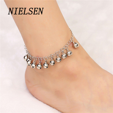 NIELSEN Fashion Girl Bell Anklets For Women Simple Small Fresh Feet Decorated Love Wild Chain Stainless Steel Anklet  Charms