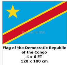 Democratic Republic Congo  National Flag 4ft x6 ft Hanging Flag Polyester  Outdoor Indoor 120x180cm Big Flag for Celebration