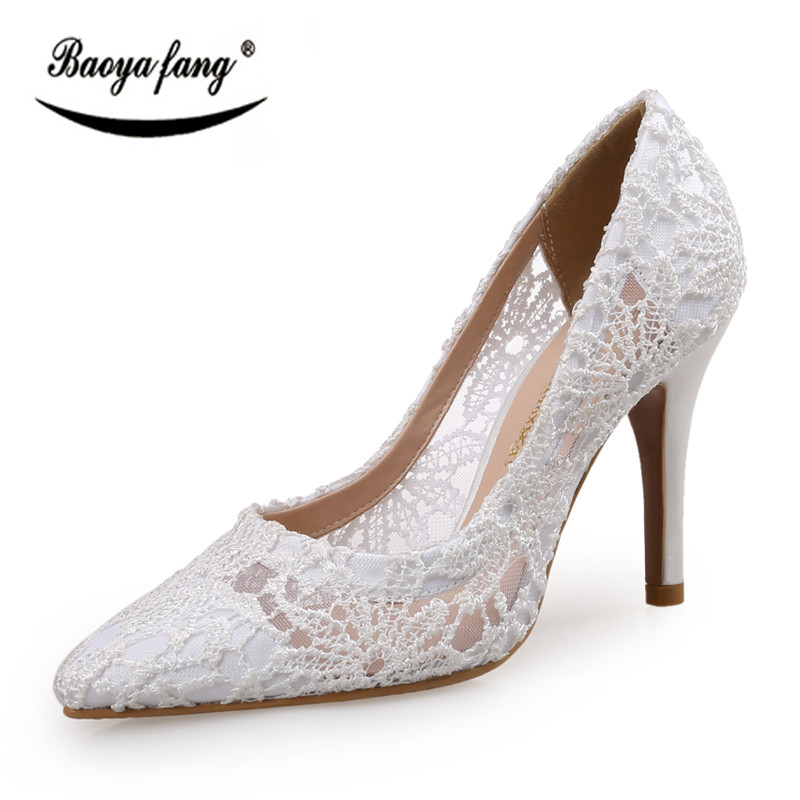 BaoYaFang Brand Spring and Autumn ladies single shoes High heels Womens Pumps female fashion shoes pointed toe Mesh Fucshia <br>