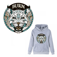 FGHGF Cool 3D Burn Tiger Clothes Stickers Patches for Men's Tops Household Iron-on Transfers DIY Decoration Appliqued for Tote(China)