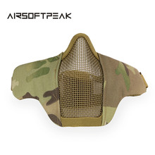 Airsoft Mask Half Lower Face Metal Steel Net Mesh Mask Hunting Tactical Protective CS Half Face Mask Paintball Accessories