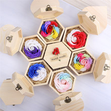 Lomantic Valentine's Day Rose Flower Lovers Wedding Gift Soap Flower Wooden Box Christmas Decoration Wife Girlfriend Gifts T45