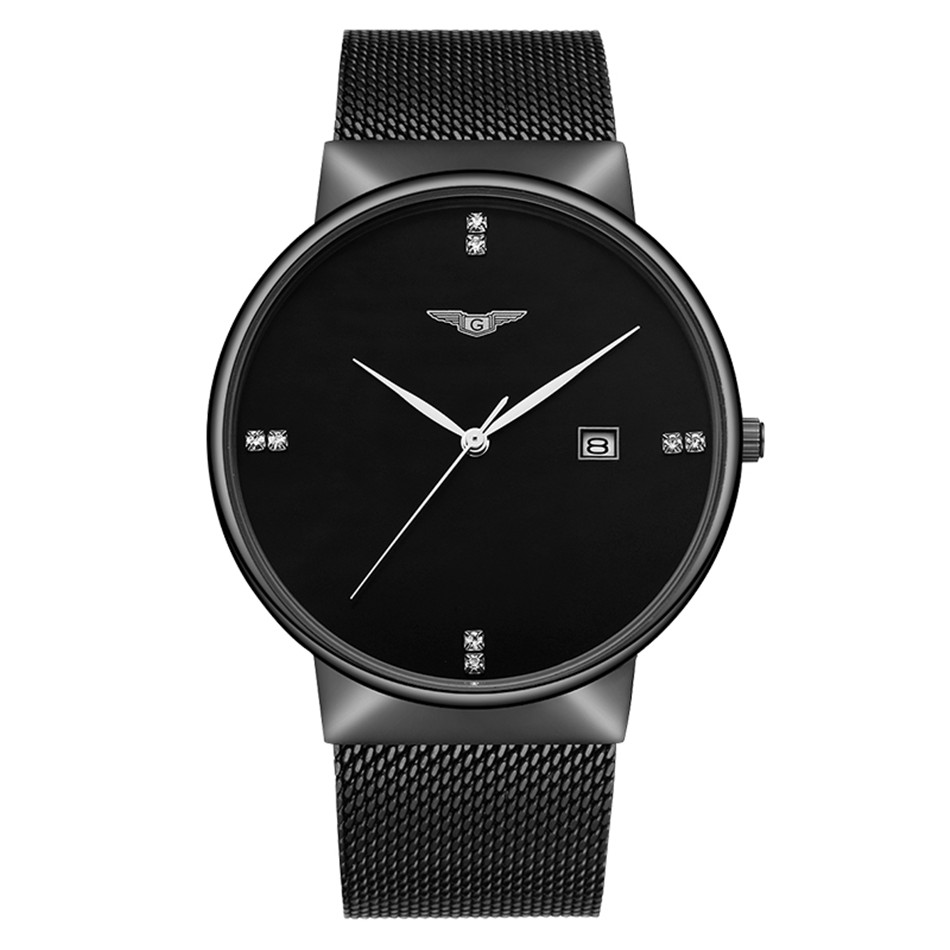 Casual Style Stainless Steel Men Watch GUANQIN Quartz Wristwatch Black Clock Montre Homme Thin Watch Dial Auto Date Waterproof<br><br>Aliexpress