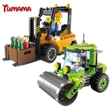 Tumama City Series Sweeper Forklift Tractor Road Roller Blocks City Construction Buliding Blocks DIY Bricks Kids Educational Toy
