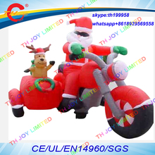 free air ship to door,3.5mLx2.5mH inflatable Christmas deer,inflatable Santa Claus and deer sledge motorcycles(China)