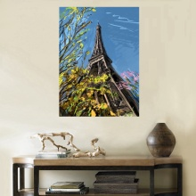 "Watercolor-9 ""Eiffel Tower Under the Flowers"" High Quality Landscape Painting Prints Fashion Artwork for Room Decor Wall Art Top"