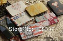24pcs/lot mini slip cover tin card case cigarette box metal storage case candy box