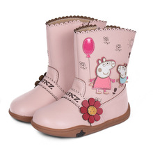 New Baby Girls Boots Children Snow Boots Kids Fur Warm Winter Waterproof Flower Shoes Soft Bottom Princess Fashion Cartoon Boots(China)
