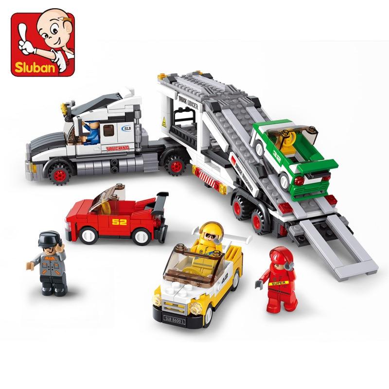 Sluban model building kits compatible with lego city car 790 3D blocks Educational model &amp; building toys hobbies for children<br><br>Aliexpress