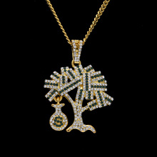 Men Hip Hop Style Dollars Tree Shape Pendant Necklaces Gold Color Bling Bling Necklace Fashion Women Jewelry Christmas Gift(China)