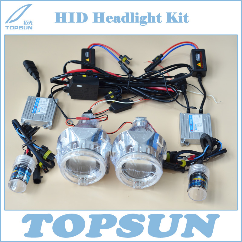 2.5 WST Projector Lens, Cover, TC 35W H1 HID Xenon Bulb, Ballast, LED Light Guide Angel Eyes, H/L Control Wire, Free Shipping<br><br>Aliexpress