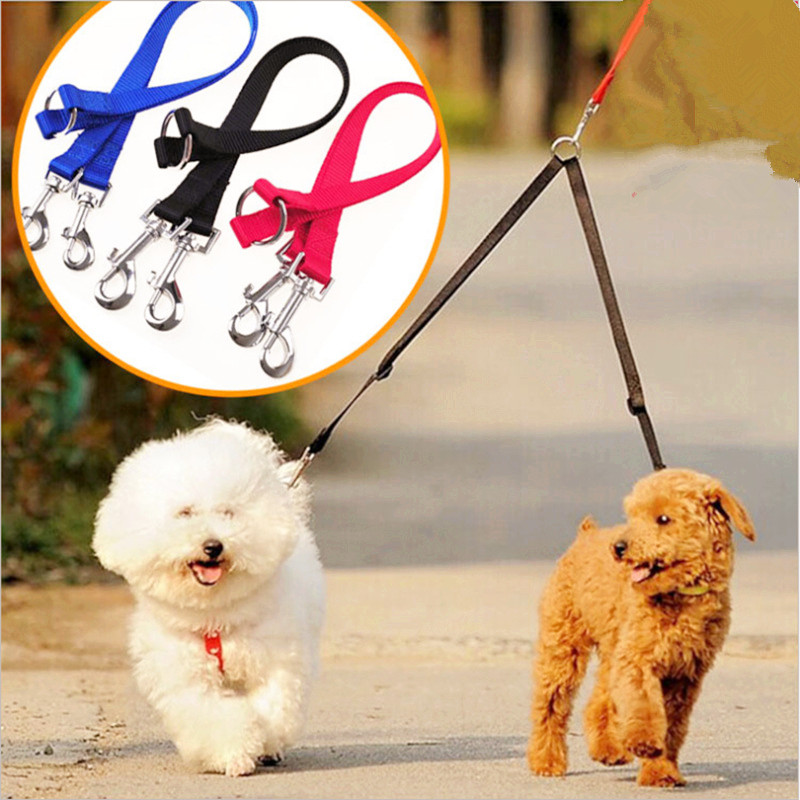 1PC Double Dog Coupler Twin Lead 2 Way For Two Pet Dogs Walking Safety Chain