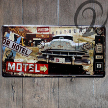 Motel Vintage Car License Plate Bar Pub Home Cafe Garage Wall Decoration Vintage 15*30 cm Metal Plaque Man Cave Tin Signs