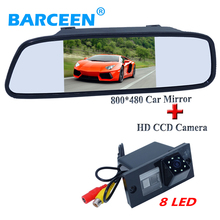"170 lens angle car rearviewe camera black shell with 8 bright led lights and 5"" car parking monitor for Hyundai H1(China)"
