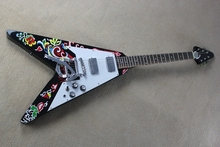Hot sale Factory custom 22frets black body flying V electric guitar with flower pattern veneer,white pickguard,can be customized