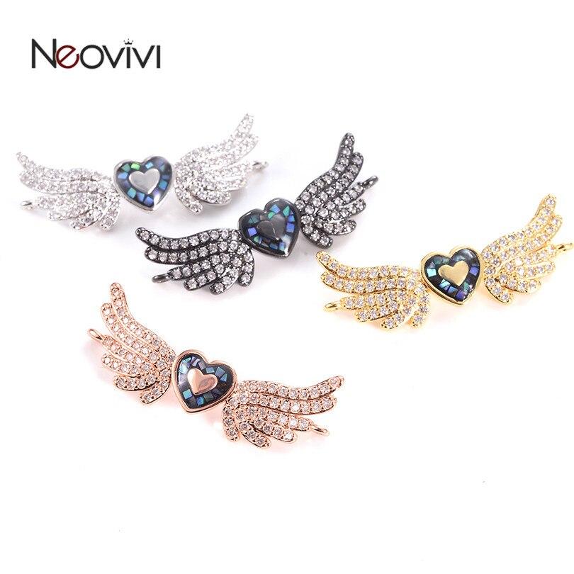 Zircon Gemstones Pave Angel Wngs Spacer Bracelet Connector Charm Pendant Beads