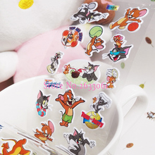 2017 Direct Selling Unisex Toy 1pcs Tom And Jerry Animation Cartoon Sticker Realistic Cats And Mouse 17cm*7cm Bubble Stickers