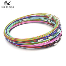 "Stainless Steel Wire Choker Necklace 18"" Mix Color Collares Populares Materials To Make Necklaces Cierres Para Collares 50Pc/Lot(China)"