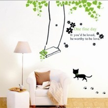 Swing kitten Korea high quality furnished living room bedroom children's room nursery wall stickers decorative painting(China)