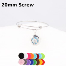 20mm Starfish Essential Oils Diffuser Locket Bracelet Stainless Steel Expandable Wire Charm Bracelet Bangle For Men Women Kids(China)