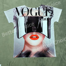 Track Ship+Vintage Retro T-shirt Top Tee Vogue Shiny Glasses Fashion Model Beauty Girl with Red Lip White Tooth 1006