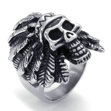 Gothic Skull Biker Stainless Steel Ring Native American Indian Skull Shape Design Giving Or Wearing Size7-14(China)