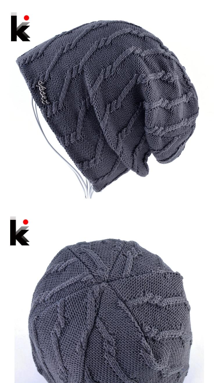2017 Winter Hats For Men Bonnets Beanies Cap Women Knitted Striped Thick Skullies Double Layer Add Velvet Warm Gorros