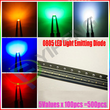 5 Values x100pcs= 500Pcs 0805 Ultra Bright SMD R G B W Y LEDs 0805 2012 smd led White Red Green Blue Yellow