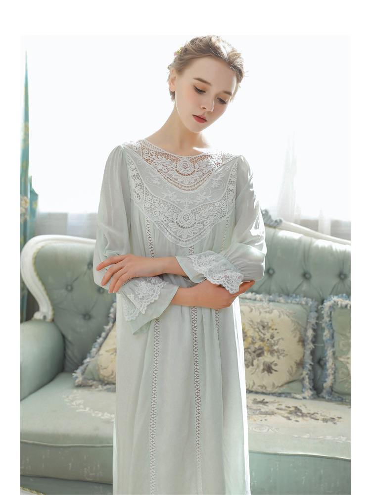 Women Vintage Style Women's Gown Flare Sleeve Pink Cotton Night Dress Long Nightdress Laced Nightshirt Victorian Nightgown 24