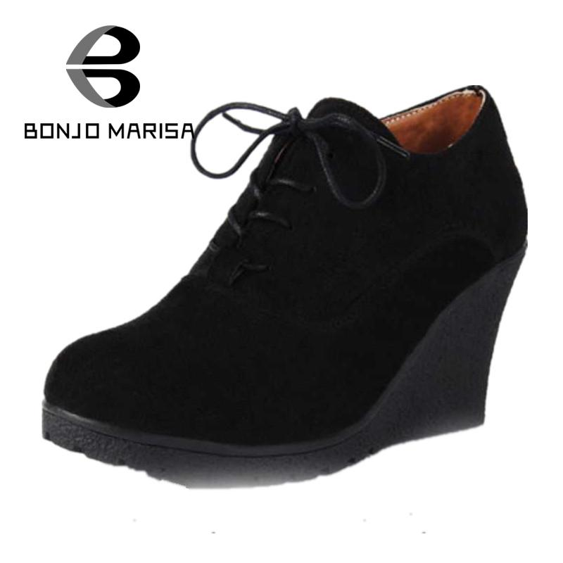 2017 New Wedges Boots Fashion Women Flock High-heeled Platform Ankle Boots Lace Up High Heels Spring Autumn Shoes For Women<br><br>Aliexpress