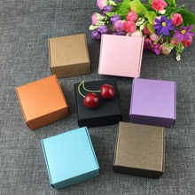 6.5*6.5*3cm Colorful Gift Boxes Kraft  Blank Small storage Box Paper Packaging Box For Jewelry/Gifts/Craft/Candy Mixed Colors