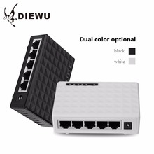DIEWU-5 Ports Ethernet Switch board Network Cable Distributor Shunt Plastic Shell 1000 Mbps LED(China)