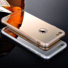 For Iphone 5 5S 5G Clear Phone Cases Fashion Luxury Ultra Slim Soft Case For Iphone 5S Silicone Edge + Shinny Mirror Back Cover(China)